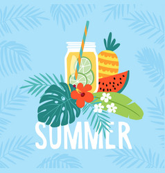 Hand drawn summer greeting card invitation with vector