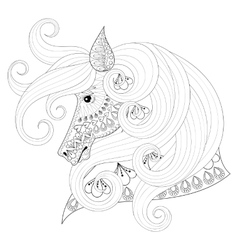 Hand drawn zentangle ornamental horse for adult vector