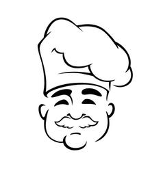 Happy european chef in toque hat vector image vector image