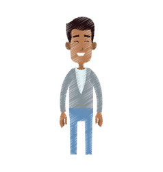 happy man cartoon icon image vector image vector image