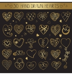 Hearts hand drawing doodle setGold decoration vector image vector image