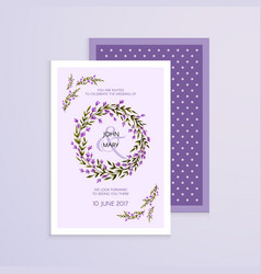 Invitation with handmade lavender flowers vector