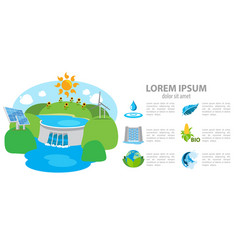 isometric hydroelectric power station dam vector image vector image