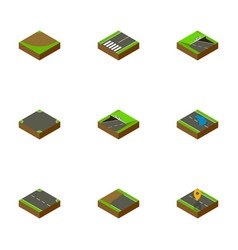 Isometric way set of rightward subway crossroad vector