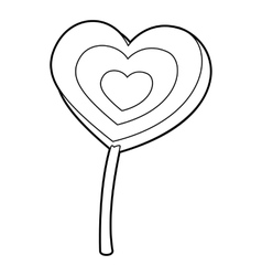Lollipop heart icon outline style vector