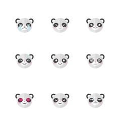 minimalistic flat panda emotions icon set vector image vector image