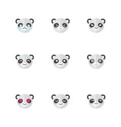 minimalistic flat panda emotions icon set vector image