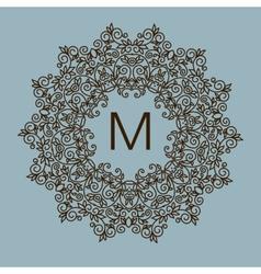 Monogram design floral outline frame or vector