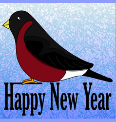 new years card with a bullfinch vector image