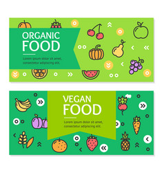 Organic vegan food flyer banner posters card set vector