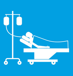 Patient in bed on a drip icon white vector