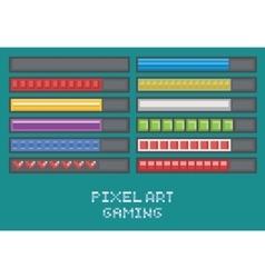 pixel art game development set - progress bar vector image vector image