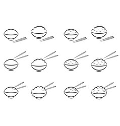 Rice bowl symbol with chopsticks in line art vector
