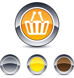 shopping cart round button vector image