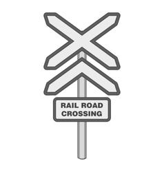 Sign rail road crossing icon monochrome style vector