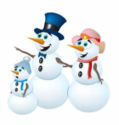 snowman family vector image vector image