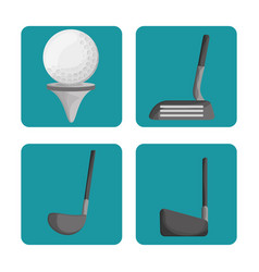 Sport golf clubs and ball set vector