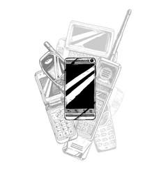 Touchscreen smartphone evolution vector