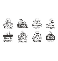 Travel journey set labels Handwritten vector image