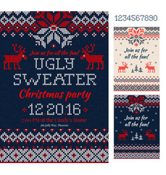 ugly sweater christmas party cards knitted vector image