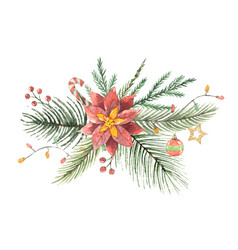 Watercolor christmas bouquet with flower vector