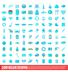 100 blue icons set cartoon style vector