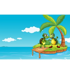 An island with two turtles vector image