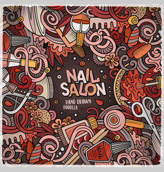 cartoon doodles nail salon frame design vector image