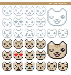 Cat pixel emoticons vector