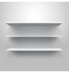 Realistic triple book shelf template vector