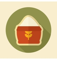 Sack of flour retro flat icon with long shadow vector