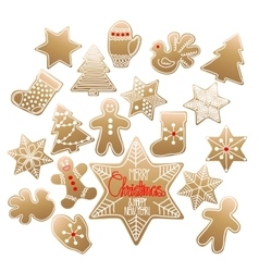 Huge collection of Christmas gingerbread vector image