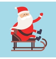 Cartoon santa claus driver sled delivery vector