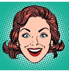 Retro emoji smile joy woman face vector