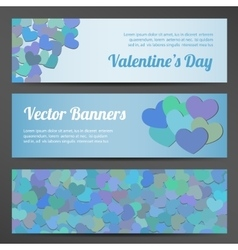 Valentines day horizontal banners on pink vector