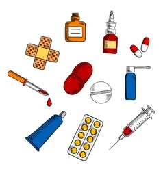 Pills drugs and medication icons vector