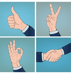 Hand gestures set in comic pop art style vector