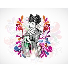 Colorful background with geisha vector