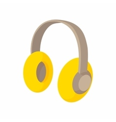 Yellow protective headphones icon cartoon style vector