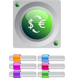 Money exchange color round button vector