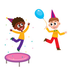 black and caucasian kids boy at birthday party vector image vector image