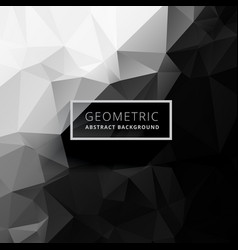 Black and white low poly background vector