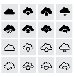 black clouds icon set vector image