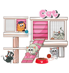 Cathouse with many cats vector