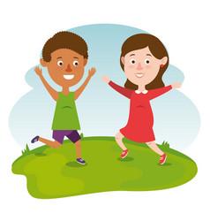 Couple happy kids characters vector