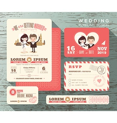 Cute groom and bride couple wedding invitation set vector image