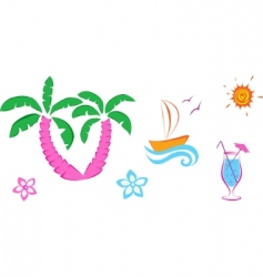 cute summer icons vector image vector image