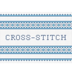 Decorative cross stitch needlework design vector