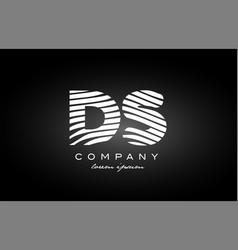 Ds d s letter alphabet logo black white icon vector