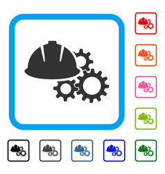 engineering helmet and gears framed icon vector image